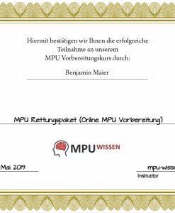 Abschlusszertifikat MPU Vorbereitung